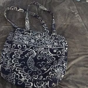 Vera bratley tote bag navy blue and white tote bag
